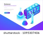 isometric flat science... | Shutterstock .eps vector #1095307406