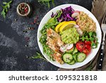 healthy dinner. buddha bowl... | Shutterstock . vector #1095321818