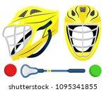 lacrosse set. sport helmet.... | Shutterstock .eps vector #1095341855