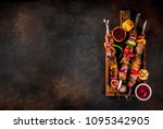 fresh  home cooked on the grill ... | Shutterstock . vector #1095342905