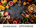 assortment various barbecue... | Shutterstock . vector #1095348368