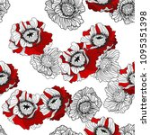 seamless pattern with red... | Shutterstock .eps vector #1095351398