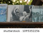 Small photo of 11th of November 2013 - Scene from Cuban outdoor book stall with close up of revolutionary books, one of them with a picture of Fidel Castro and Nikita Khrushchev on the cover, Havana, Cuba