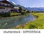 view of the river and mountains ... | Shutterstock . vector #1095355616