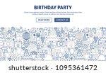 birthday party banner design.... | Shutterstock .eps vector #1095361472