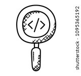 magnifier with html code  view ... | Shutterstock .eps vector #1095365192