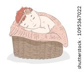the child sleeps in a basket in ... | Shutterstock .eps vector #1095367022