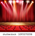 a theater stage with a... | Shutterstock .eps vector #1095370358