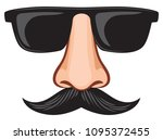 glasses and nose with mustache... | Shutterstock .eps vector #1095372455