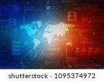 2d illustration world map... | Shutterstock . vector #1095374972