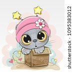birthday card with a cute... | Shutterstock .eps vector #1095383012