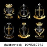 christian crosses emblems set.... | Shutterstock .eps vector #1095387392