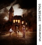 kids looking at a haunted house ... | Shutterstock . vector #1095387905