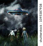 kids looking to a ufo saucer on ...   Shutterstock . vector #1095387938