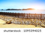 the wooden walkway by the sea ... | Shutterstock . vector #1095394025
