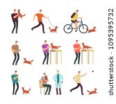 happy man with dog in daily... | Shutterstock .eps vector #1095395732