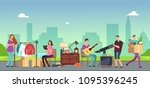 people selling and shopping...   Shutterstock .eps vector #1095396245