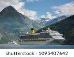 Cruise Ship at Geiranger fjord, Norway - stock photo