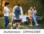 group of young friends enjoying ... | Shutterstock . vector #1095421085