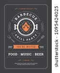 barbecue party vector flyer or... | Shutterstock .eps vector #1095424025
