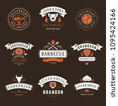 barbecue restaurant logos and...   Shutterstock .eps vector #1095424166