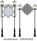wrought iron signage with lamp | Shutterstock .eps vector #109542422