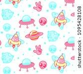 space background alien pattern... | Shutterstock .eps vector #1095428108