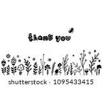 thank you card  flower doodle... | Shutterstock .eps vector #1095433415