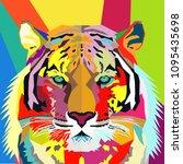 tiger pop art portrait vector | Shutterstock .eps vector #1095435698