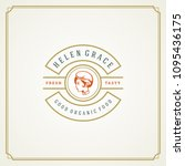restaurant logo design vector... | Shutterstock .eps vector #1095436175