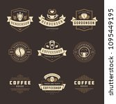 coffee shop logos design... | Shutterstock .eps vector #1095449195