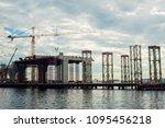 building of the bridge at sea | Shutterstock . vector #1095456218