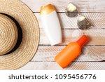 sunscreen  towel  hat  glasses... | Shutterstock . vector #1095456776