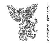 firebird myth animal engraving... | Shutterstock .eps vector #1095457928