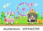street food trolleys with... | Shutterstock .eps vector #1095465785