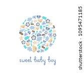 cute baby boy elements vector... | Shutterstock .eps vector #1095471185