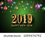 2019 happy new year background... | Shutterstock .eps vector #1095476792