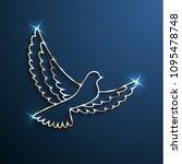 golden shiny dove silhouette... | Shutterstock .eps vector #1095478748