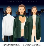 body template with outfits and...   Shutterstock .eps vector #1095483458