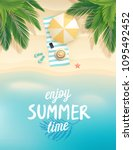 tropical beach poster. vector... | Shutterstock .eps vector #1095492452
