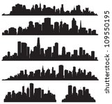 set of vector cities silhouette | Shutterstock .eps vector #109550195
