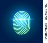 finger print scanning... | Shutterstock .eps vector #1095537782