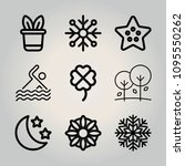 outline nature 9 vector icons... | Shutterstock .eps vector #1095550262
