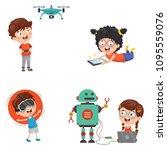 vector illustration of kids... | Shutterstock .eps vector #1095559076