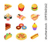 set of colorful isometric fast... | Shutterstock .eps vector #1095560162