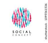 social conceptual emblem.... | Shutterstock .eps vector #1095561536