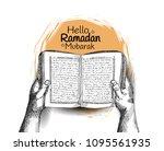 hello ramadan mubarak free hand ...   Shutterstock .eps vector #1095561935