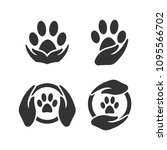 Stock vector paw silhouette in circle shape and hand 1095566702