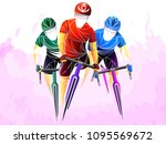 cycling tour  track  bicycle ... | Shutterstock .eps vector #1095569672