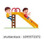 smiling preschool boy sliding... | Shutterstock .eps vector #1095572372